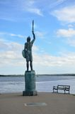 Statue of Warrior overlooking River Royalty Free Stock Photos