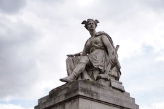 A statue of warrior with wing on head. A statue of warrior with wing on the head Royalty Free Stock Images