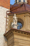 Statue of Wawel Cathedral in Krakow royalty free stock photography