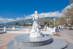 Statue White Bride in Gelendzhik Stock Photo
