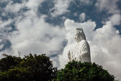 Statue of white Buddha surrounded by trees against the sky, asia. Nice view stock image