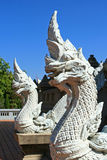 Statue of White Serpents. North of Thailand Stock Photography