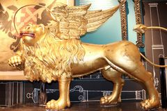 Statue of Winged Gold Lion at the Tower of London Stock Image