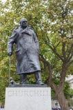 Statue of Winston Churchill in Parliament Square - London Stock Image