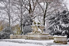 Statue in Winter Park in Dusseldorf Royalty Free Stock Photo