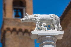 Statue of Wolf With Romulus and Remus in Rome, Italy Royalty Free Stock Photos