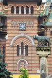 Statue with wolf symbol of Timisoara. Romania Royalty Free Stock Images