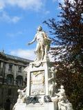 Statue of Wolfgang Amadeus Mozart against blue sky, Burggarten, Vienna, Austria. Vertical photo Royalty Free Stock Photo
