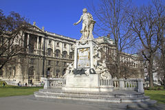 Statue of Wolfgang Amadeus Mozart. In front of the national library in Vienna, Austria Stock Images
