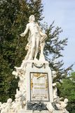 The statue of Wolfgang Amadeus Mozart, Vienna, Austria built in 1896. The marmor statue of the great musician Wolfgang Amadeus Mozart at Burggarten, Vienna Royalty Free Stock Photos