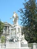 Statue of Wolfgang Amadeus Mozart, Vienna, Austria. Statue of Wolfgang Amadeus Mozart, Burggarten in Vienna, Austria, at the back of Hofburg winter palace Stock Photos