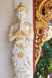 Statue of a woman. Statue of respect for a woman decorated on the wall at temple Thailand Stock Image