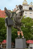 Statue of Woman with knitted Cuffs, Street Art Plzen, Czech Repu Stock Photos