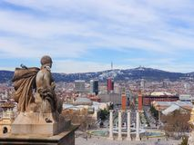 Statue of a woman looking towards the city of Barcelona royalty free stock photos