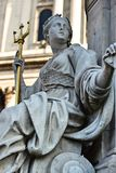 Statue of a woman with a trident in London stock images