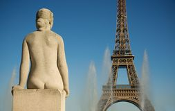 Statue of woman at the Trocadero. Looking at the Eiffel Tower. Paris, France Stock Photo