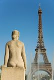 Statue of woman at Trocadero. Looking at the Eiffel Tower. Paris, France Stock Images