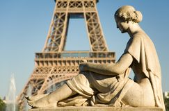 Statue of woman at Trocadero. Looking at the Eiffel Tower. Paris, France Stock Photo