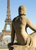 Statue of woman at the Trocadero. Looking at the Eiffel Tower. Paris, France Stock Images