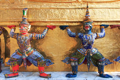 Statue of Yaksa on guard at the Temple of the Emerald Buddha Royalty Free Stock Images
