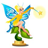 Statue of a young beautiful fairy girl with a magic wand isolated on white background. Vector cartoon close-up. Illustration stock illustration