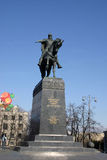 Statue of Yuri Dolgoruky. The Statue of Yuri Dolgoruky in Moscow against a blue sky Royalty Free Stock Images