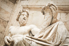 Statue of Zeus. Architectural detail of the Vittorio Emanuele Monument in Piazza Venezia, Rome, Ialy Royalty Free Stock Photography
