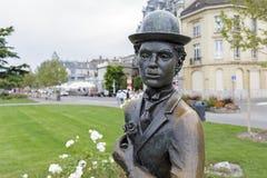 Statue zu Ehren Charlie Chaplins in Vevey Stockbild