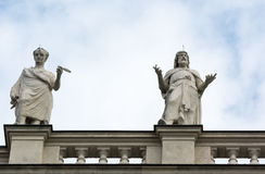 Statuea on top of the Natural History Museum Vienna Royalty Free Stock Photography