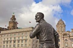 Statuein Liverpool för kapten Johnny F Walker Arkivfoton