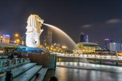 Statuein Singapore di Merlion Fotografia Stock Libera da Diritti