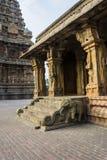 Statuen auf Felsen-Säulen - großer Tempel Thanjavur stockbild