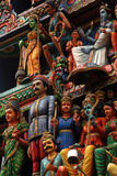 Statuen des hinduistischen Tempels, Singapur Stockfotografie