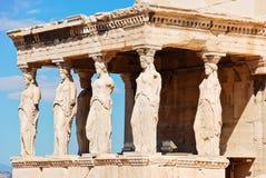 Statuen des Portals der karyatides, Athen Lizenzfreies Stockfoto