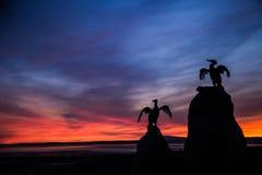 Statuen eines fahren schöne Vogels auf dem Morecambe die Küste entlang stockfotos