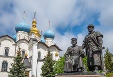 Statuen von Architekten, Kasan der Kreml, Russland Lizenzfreie Stockbilder
