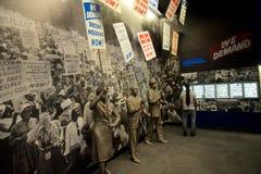 Statuen von den Afroamerikanern, die innerhalb des nationalen Bürgerrecht-Museums bei Lorraine Motel marschieren lizenzfreie stockfotos