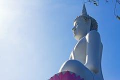 Statuenbuddha-Hintergrundbeleuchtung Lizenzfreie Stockfotos