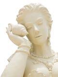 Statuengesicht von Frauen auf lokalisiertem hinterem Boden Stockbild