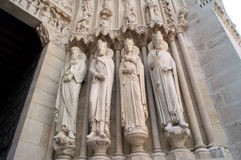 Statues. On the portal of Notre Dame Church royalty free stock images