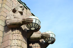 Statues adorn the main railway station, Helsinki Royalty Free Stock Images