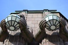 Statues adorn the main railway station, Helsinki Royalty Free Stock Image