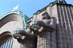 Statues adorn the main railway station, Helsinki Stock Photo