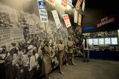 Statues of African Americans marching inside the National Civil Rights Museum at the Lorraine Motel. Statues of African Americans marching and yielding protest royalty free stock photos