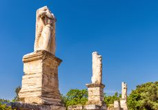 Statues on the ancient Agora, Athens, Greece royalty free stock photography