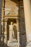 Statues in ancient antique city of Efes, Ephesus ruins. Ancient antique city of Efes Celsus library ruin in Turkey. Ancient Greek city Ephesus ruins on the stock photo
