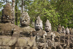 Statues in Angkor archeological site, Siem Reap, C Royalty Free Stock Photo
