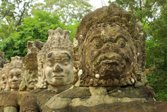 Statues in Angkor temple complex, Cambodia Royalty Free Stock Photography