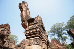 The statues of  Angkor Temples, Cambodia Royalty Free Stock Photo