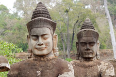 Statues in Angkor Thom, Cambodia. Royalty Free Stock Image